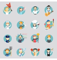 Badges with avatars of different professions vector