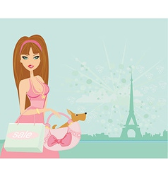 Sexy women shopping in paris vector