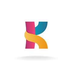 Letter k logo template colorful ribbons sign vector
