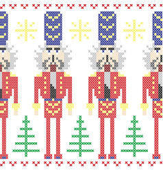Nutcracker soldiers seamless christmas nordic vector