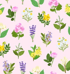 Essential flowers seamless pattern vector