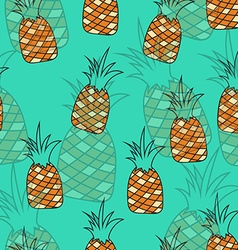 Stylish seamless pattern of pineapples on vector