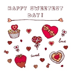 Heart shaped icons for Happy Sweetest Day vector image