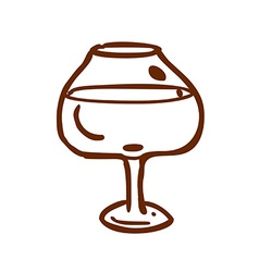 Hand drawn glass of wine vector