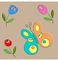 Butterfly and flowers handmade vector