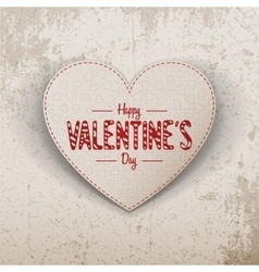 Happy valentines day realistic paper heart label vector