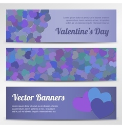 Valentines day horizontal banners on purple vector