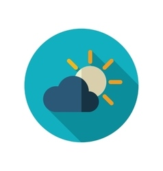 Sun and cloud flat icon meteorology weather vector