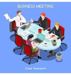 Business room 03 people isometric vector