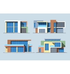 Houses linear 8 color vector