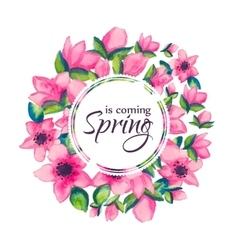 Spring is coming greeting card vector