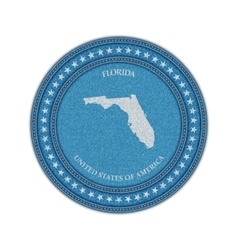 Label with map of florida denim style vector