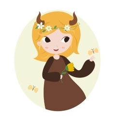 Cute horoscope zodiac signs taurus vector