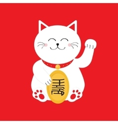 Japanese maneki neco cat waving hand paw icon vector