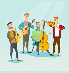 Band of musicians playing musical instruments vector