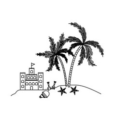 Black silhouette of sandcastle and island with vector
