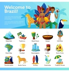 Brazil For Travelers Infographic Flat Poster vector image vector image