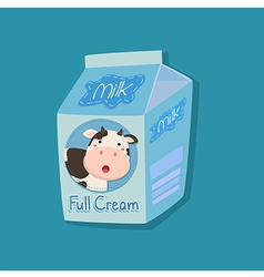 Full cream milk packaging with cow face vector