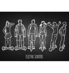 Graphic people riding on electric scooters vector image