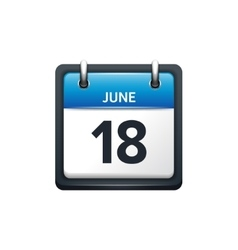 June 18 calendar icon flat vector