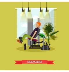 Man working out in a gym healthy lifestyle vector