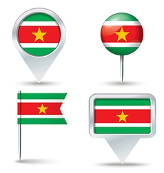 Map pins with flag of Suriname vector image vector image