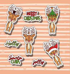 merry christmas with stickers of reindeer set and vector image