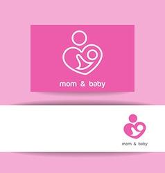 mom and baby logo identity vector image