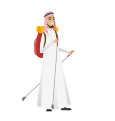 Muslim man hiker walking with trekking sticks vector