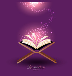 Muslim quran with magic light for ramadan of islam vector