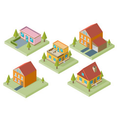 Private house real estate decorative icons set 3d vector