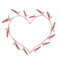 Scarlet sage flowers in a heart shape vector