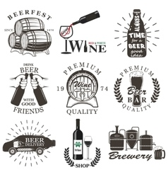 Set of wine and beer signs badges vector image