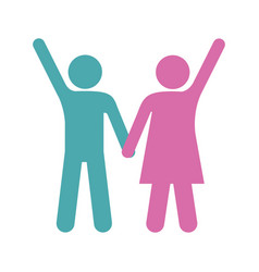 silhouette color pictogram man and woman taken of vector image
