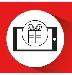 Smartphone e-commerce gift box graphic vector