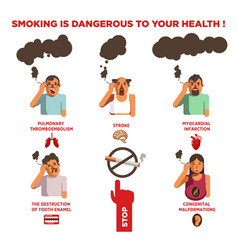 Smoking cigarette harm health risk impact vector