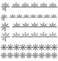 Snoflakes ribbons set vector