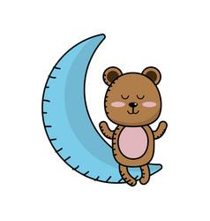 Teddy bear seated in the moon vector