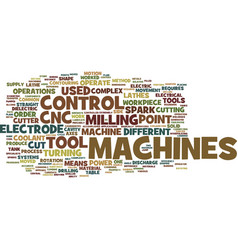 The different cnc machines text background word vector