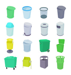 Trash bin set icons vector image vector image
