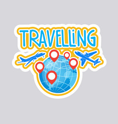 travelling sticker social media network message vector image vector image