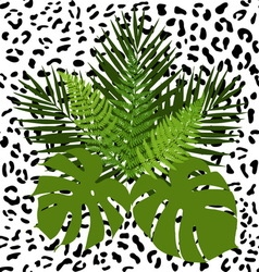 Tropical leaves and animal skin seamless pattern vector