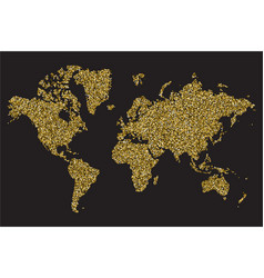 world map isolated on black background gold vector image vector image