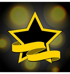 Yellow and black star with banner background vector