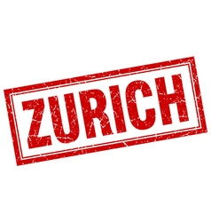 Zurich red square grunge stamp on white vector