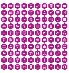 100 construction icons hexagon violet vector