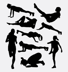 Pilates female and male sport silhouette vector image
