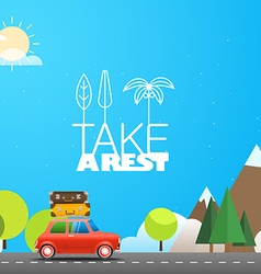 Take vacation travelling concept with the red car vector