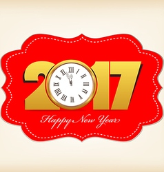 Happy new year 2017 with clock vector