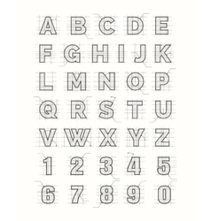 Drafting paper alphabet vector image